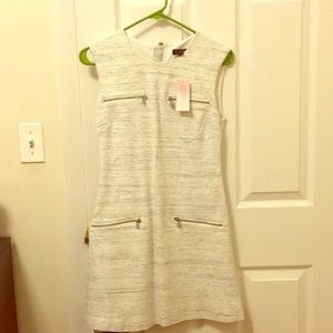 Casual winter white dress with zippers
